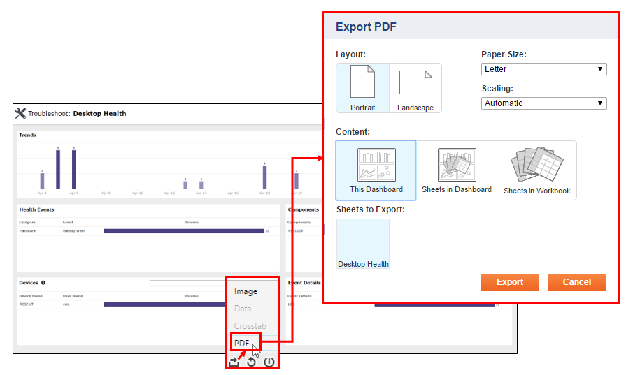 Save a Dashboard as PDF (Export to PDF)
